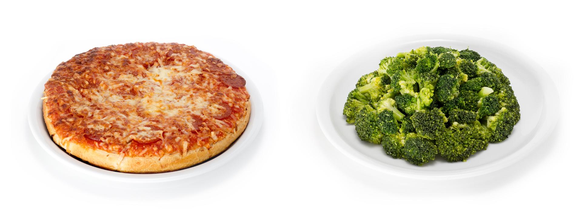 Pizza und Broccoli